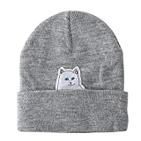 Weiße Katze errichten Mittelfinger Beanie Hut Wingbind Baumwolle Skull Cap Winter warme stricken Hut Slouchy emotionale niedliche Cap Watch Hu