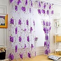 Sannysis Home Cortinas,Sannysis 1pc Hojas de vid Tulle Door Window Cortina cortina Panel Sheer