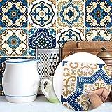 Topmail 24 Pièces Stickers Carrelage Auto-adhésif Imperméable en PVC Design de Carreaux de Ciment Autocollant Mural Décoratif pour Cuisine Salle de Bain (Style Marocain, 20x20cm)
