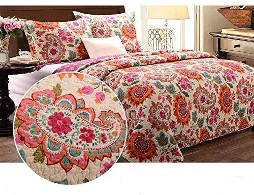 Unimall 3 tlg. Premium Tagesdecke Baumwolle 230 x250 cm Bettüberwurf Doppelbett Sofa Überwurf mit Schick Paisley Sonnenblume Muster Queen-size-bett-set Für Mädchen Rosa