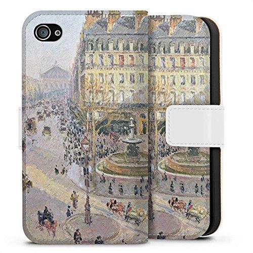 Apple iPhone X Silikon Hülle Case Schutzhülle Camille Pissarro The Avenue de L'Opera Kunst Sideflip Tasche weiß