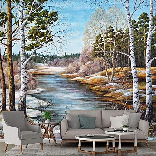 ZAMLE Tapete 3 D Wandbild Natürliche Landschaft Ölgemälde Stil Fototapeten Für Wohnzimmer Handgemalte-300x210_cm_ (118.1_por_82.7_in)