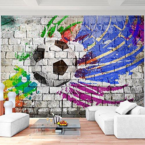 Preisvergleich Produktbild Fototapete Fußball 396 x 280 cm - Vliestapete - Wandtapete - Vlies Phototapete - Wand - Wandbilder XXL - !!! 100% MADE IN GERMANY !!! Runa Tapete 9021012b