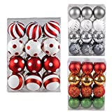 Shatterproof Christmas Tree Baubles Decorations Classic Xmas Trees Party Ball Ornaments 24 pcs by Art Beauty (60mm, Red and White)