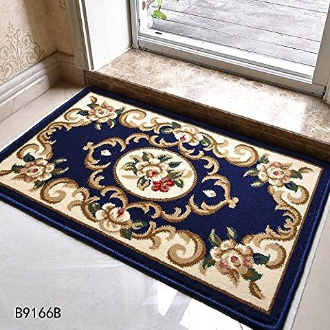 LINDONG-Tappetini continentale entrata foyer in famiglie per ammortizzare il portale celeste è non-slip B9166 Serie 0.5x0.8 ,50 m x 80 cm 530V,B9166B Blu fiore piatto