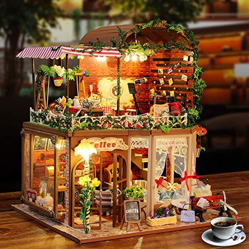 SJZX DIY Holz Blume Haus Miniatur Puppenhaus 3D Led Mini Dollhouse Kit Mit MöBel Kit Licht Kreative Weihnachten Geschenk -