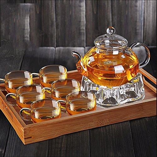 Théière Épaississement Verre Kung Fu thé Ensemble Maison Filtre résistant à la Chaleur en Verre thé Fleur Paquet 600 ML 6 Tasses + Grand Plateau + Base de GAODUZI (Style : A)
