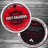 Echte Bierdeckel (25 St.) als Einladung zum Biker Geburtstag, Party, Bierumtrunk mit Motorrad Einladungskarte als Biermarke, Brauerei mit Label, Striche, individuelle Bierfilz-Einladungskarte
