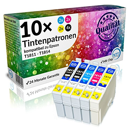 N.T.T.® 10 x Stück XL Druckerpatronen / Tintenpatronen kompatibel zu T1811-T1814 Epson Expression Home XP-102 ; XP-202 ; XP-205 ; XP-30 ; XP-302 ; XP-305 ; XP-402 ; XP-405 ; XP-405WH; XP-212 ; XP-215 ; XP-312 ; XP-315 ; XP-412 ; XP-415