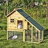 iKayaa AB2001 - 55 pulgadas Jaula doble con rampa para conejos gallinas aves de corral para exterior,madera de abeto