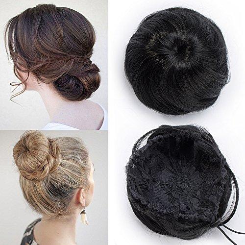 TESS Haargummi Haarteil Dutt mit Haaren Schwarz Glatt Haarknoten Hochsteckfrisuren günstig für Frauen 45g