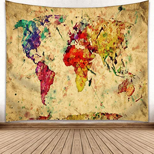 omnihabits Weltkarte Wandteppich, Wandtuch, Tapisserie, Tagesdecke, Wandbehang mit hoch detailliertem Druck 150cm x 200cm