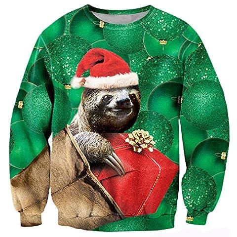 Bfustyle Teens niedlichen lustigen Sloth Santa Hut Weihnachtsgeschenke Funny Shirts Geschenkideen Sweatshirt