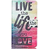 Funda LG G4C,PU Cuero Cartera Funda Carcasa de Piel para LG G4C H525N/LG Magna H500F Case Cover conbolsillo de tarjeta,Vivir la vida
