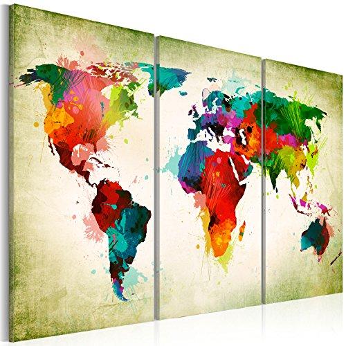 Neuheit Leinwand (Neuheit! Weltkarte mit Kork Rückwand 120x80 cm - Bilder Leinwandbild Poster Pinnwand Kunstdruck Welt Landkarte Karte k-A-0006-p-g 120x80 cm B&D XXL)