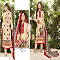 Women's Suit Party Wear Pakistani Style Cotton Unstitched Suit with Embroidery on Sale Now – Limited Period Offer | Ethnic Wear | Occasional Wear | Office Wear
