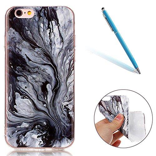 Cover per iPhone 8, CLTPY iPhone 7 Sottile Copertura in Silicone Morbido con Design Marmo Colorato Belle per Apple iPhone 7/8 + 1 x Stilo Libero - Gris Gray