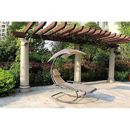 Schaukelliege KEROS Relaxliege Gartenliege Liege Garten Möbel + Dach+Kissen