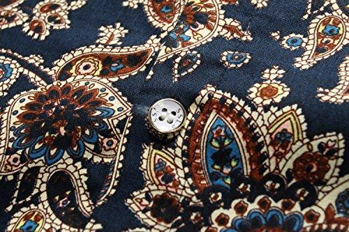 SSLR Herren Paisley Druck Regular Fit Casual Langarm Hemd Blau