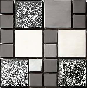 Ht0002 mattonelle in acciaio inox e vetro effetto for Piastrelle adesive effetto mosaico