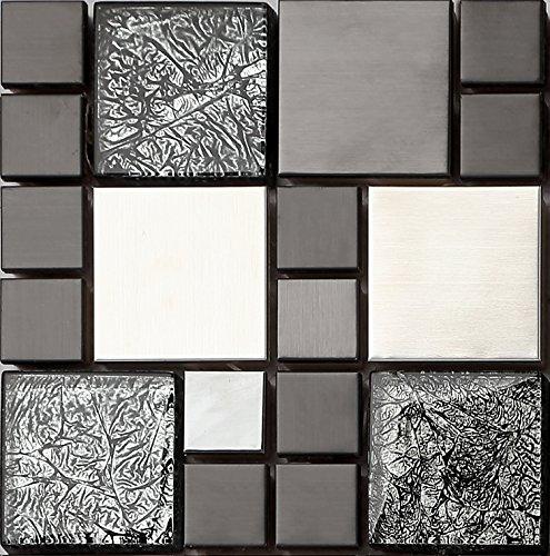 Ht0002 mattonelle in acciaio inox e vetro effetto mosaico in nero e argento opaco 15 cm x 15 - Piastrelle a mosaico ...