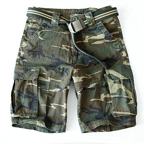 WDDGPZDK Strand Shorts/Sommer Shorts Men Baumwolle Casual Solid Military Shorts Mens (Ohne Gürtel), Ohne Gürtel, XXXL -