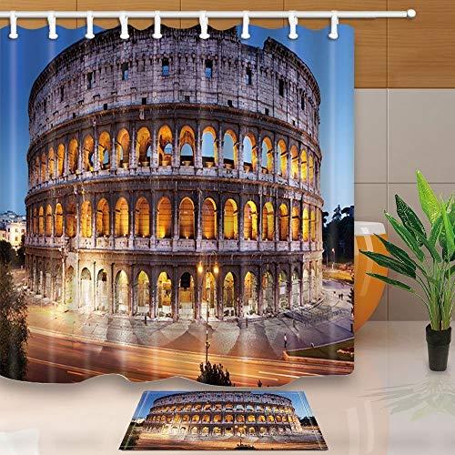 gohebe Travel Decor Römisches Kolosseum Night scenery 180x180cm Schimmelresistent Polyester Stoff Vorhang für die Dusche Anzug mit 39,9x59,9cm Flanell rutschfeste Boden Fußmatte Bad Teppiche