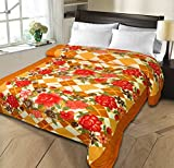 Christy's Collection Super Soft Printed Cotton Blend AC Double Blanket - Orange