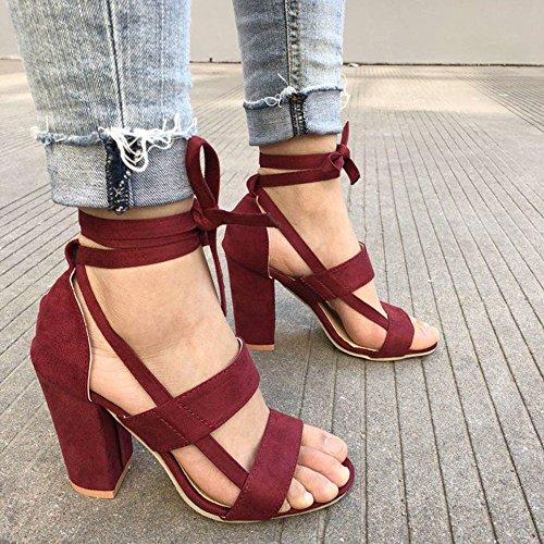 Toe Wein (sandalen damenHigh Heels Sandalen Knöchelbandage High Heels Block Party Open Toe Schuhe(42, Wein))