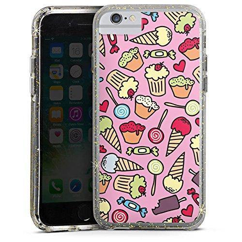 Apple iPhone 6s Plus Bumper Hülle Bumper Case Glitzer Hülle Sweet Candy All Over Sweet Sweets Bumper Case Glitzer gold