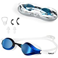 TOPLUS Swimming Goggles, Racing Swim Goggles Adult Unisex Swim Goggles, No Leaking Anti Fog UV Protection Soft Silicone…
