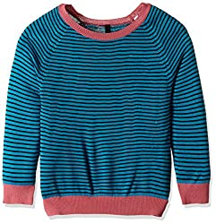 United Colors of Benetton Girls Cardigan (16A1TRIC0033I901XX_Blue and Multicolored)