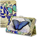 kwmobile Funda para Huawei MediaPad T1 7.0 / Honor Play Tablet T1 - Case delgado para tablet con soporte - Smart Cover slim para tableta Diseño mariposas vintage en azul menta beige