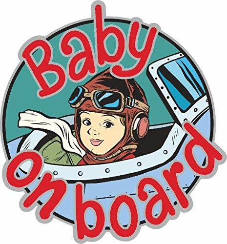 Etaia 15 cm Ø - Auto Aufkleber Baby on Board Pilot im Cockpit Flieger Sticker Vorsicht Kinder Motorrad Caravan LKW Truck Kombi