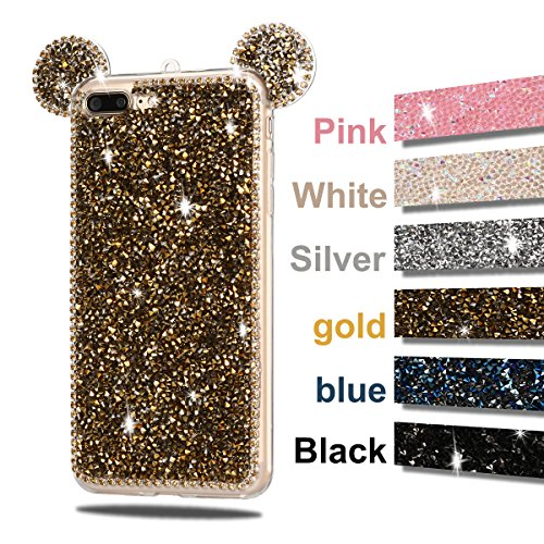 Cover iPhone 7 Plus, CaseLover 3D Bling Strass Gel TPU Silicone Case per iPhone 7 Plus Morbida Trasparente Cristallo Diamante Topo Orecchio Posteriore Copertura Sparkle Brillante Anti Scivolo Della Pr Oro