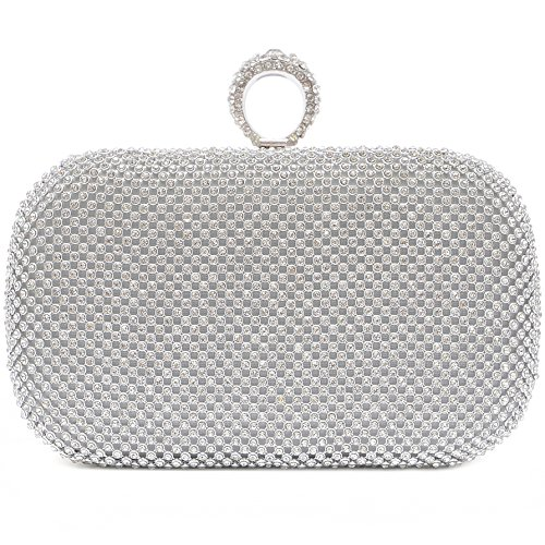 Vain Secrets Damen Strass Abendtaschen Clutch Umhänge Tasche Handtasche mit Ring in vielen Farben (Silber) -