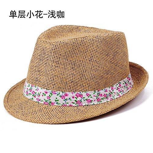 L'ombre de la Corée chapeaux d'hommes et de femmes à l'été britannique des couples hat beach tide chapeau de paille chapeau jazz , 56-58cm (bleu marine) (a) la lumière curry 56-58cm
