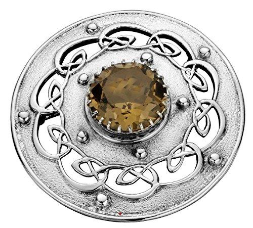 I Luv LTD Plaid Brooch Sterling Silver Open Celtic Scrollwork Smokey Quartz 60mm Ltd Plaid
