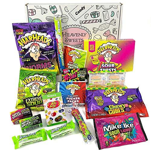 Geschenkkorb mit saure amerikanische süßigkeiten | Super Saures Geschenkset aus den USA | Auswahl beinhaltet Warheads Extreme, Sour Jelly Beans | 17 Produkte in tollen Geschenkebox (Candy Baby Cry)