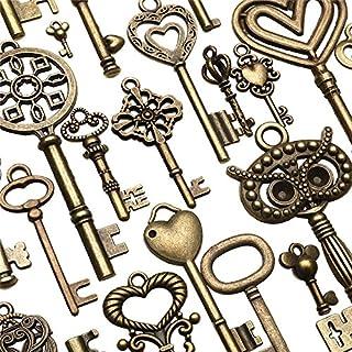 KUNSE 130Pcs Antique Bronze Brass VTG Ornate Skeleton Keys Lot Pendant Fancy Heart Pendants Schlüsselgeschenk