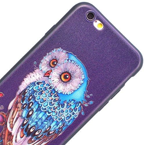 Yokata iPhone 6 Plus / iPhone 6s Plus Hülle Weiche Silikon Handyhülle 3D Motiv Schutzhülle TPU Handy Tasche Schale Etui Weich Silicone Bumper Ultra Dünn Slim Schlank Matt Handytasche Premium Kratzfest Eule