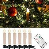 WYBAN Kabellos Fernbedienung 40er Warmweiß LED Weihnachtskerzen Lichterkette LED Kerzenlamp (40)