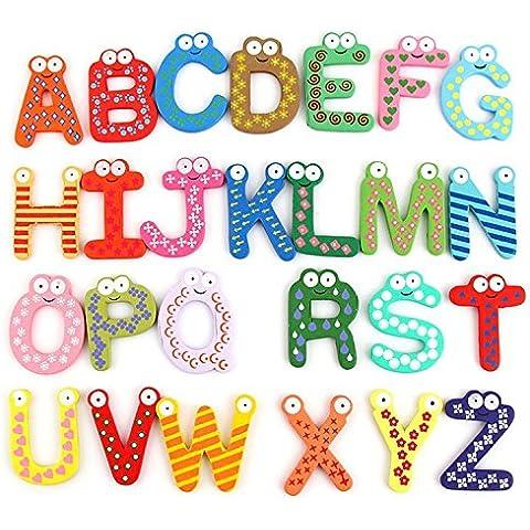Letras de madera creativo imanes de nevera A-Z para niños educación temprana juego de 26 piezas