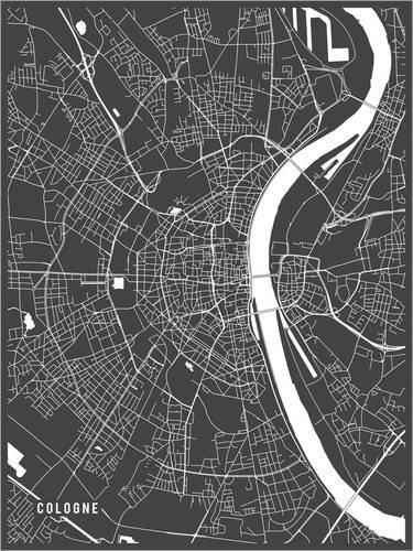Posterlounge Acrylglasbild 30 x 40 cm: Köln Deutschland Karte von Main Street Maps - Wandbild, Acryl Glasbild, Druck auf Acryl Glas Bild