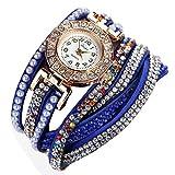 Ouneed® Uhren, Damen Luxus Marken Designer Damen Uhr Frauen-Perlen-Skala Armband Quarz Armbanduhr Kristall Diamant Uhr Frauen Kleid Uhr (Dunkelblau)