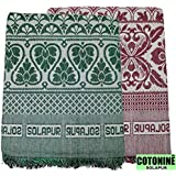Cotonine Cotton 300 TC Solupuri Bedsheet (Green & Red_Full)