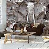 decomonkey   Fototapete Steinwand Steine 350x256 cm XXL   Design Tapete   Fototapeten   Tapeten   Wandtapete   moderne Wanddeko   Wand Dekoration Schlafzimmer Wohnzimmer   Elefant Skulptur Grau   FOB0194c73XL