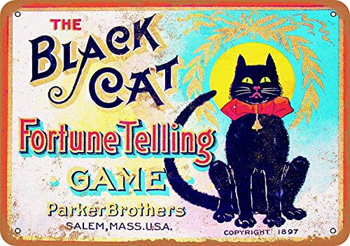 JIA KOAH 1897 Black Cat Fortune Telling Game Wandschild Retro Eisen Malerei Vintage Metall Plaque Dekoration Hängen Kunstwerk Bar Cafe Shop Home Poster