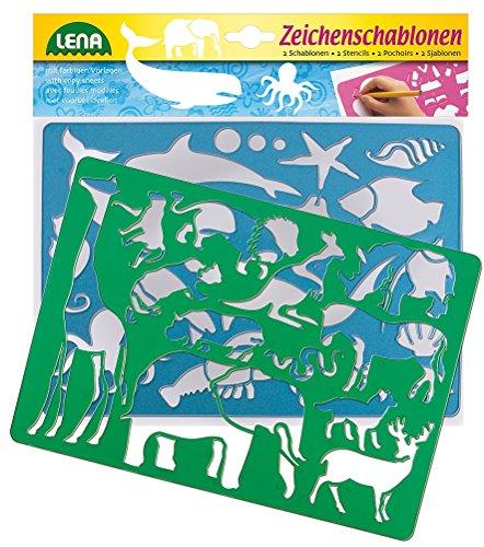 Lena 65768 - 2 Zeichenschablone Afrika und Meerestiere, ca. 26 x 19 cm