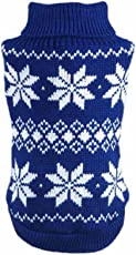 HP95(TM) Hot!Dog Clothes Pet Winter Snowflake Woolen Sweater Knitwear Puppy Warm High Collar Coat and Jacket (L, Blue)